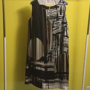 Dana Buchman printed lined sleeveless dress